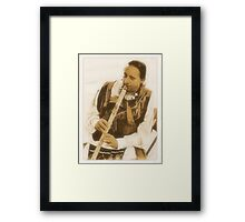 """Native American Indian on Flute""... prints and products Framed Print"