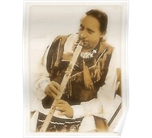 Native American Indian on Flute Poster
