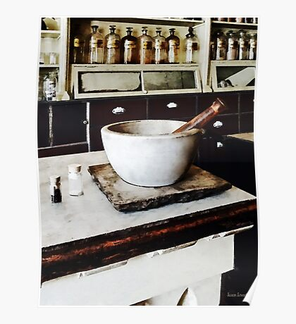 Mortar and Pestle in Apothecary Poster