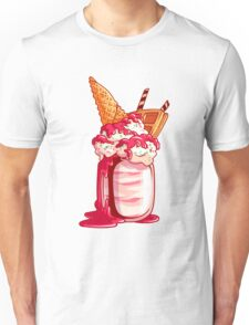 Giant milkshake with waffle, ice cream, chocolate, wafer and cherry jam. Unisex T-Shirt