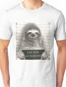 Sloth in a Mugshot Unisex T-Shirt