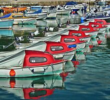 Red And White Boats Of Lyme by lynn carter