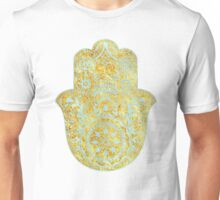 Gold and light Blue Hamsa Hand Unisex T-Shirt