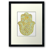 Gold and light Blue Hamsa Hand Framed Print