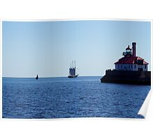 Tall ship leaving Duluth harbor Poster