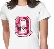 College letter Q with hearts pattern Womens Fitted T-Shirt