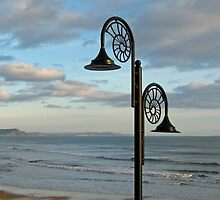 Nautilus Lamps Overlooking Lyme Bay, Dorset, uk by lynn carter