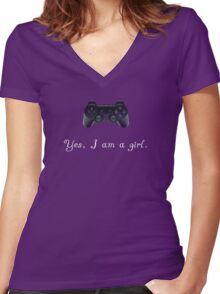 Yes, I am a Girl- (white text) Women's Fitted V-Neck T-Shirt