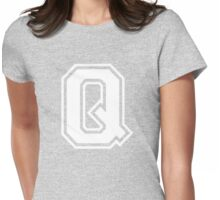 College letter Q in white Womens Fitted T-Shirt
