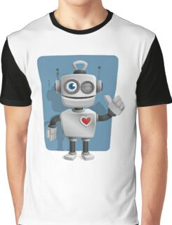 Cute Cartoon Robot Graphic T-Shirt