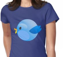 Blue Fat Round Tweet Bird Womens Fitted T-Shirt
