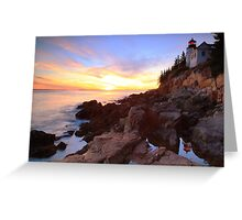 Bass Harbor Lighthouse Sunset Seascape Greeting Card