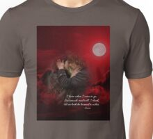 Jamie & Claire in red, under full moon. Unisex T-Shirt