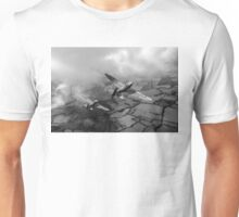 Spitfires among low clouds B&W version Unisex T-Shirt