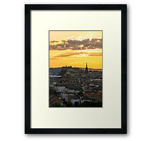 Sunset over Edinburgh Castle from The Crags, Scotland Framed Print