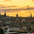 Sunset from The Crags in Edinburgh, Scotland by Miles Gray