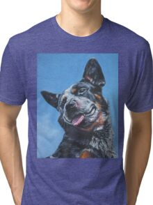 Australian Cattle Dog Fine Art Painting Tri-blend T-Shirt
