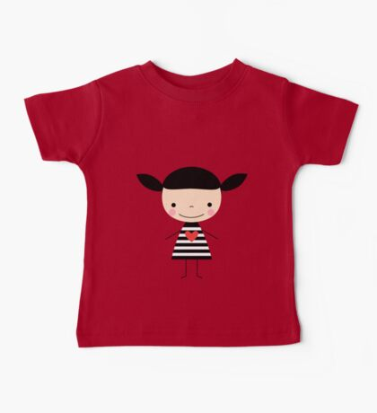 Cute smiling cartoon girl - stick figure Baby Tee