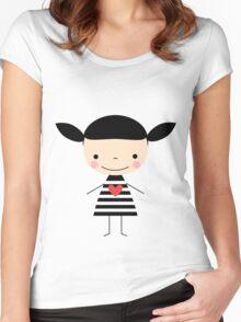 Cute smiling cartoon girl - stick figure Women's Fitted Scoop T-Shirt