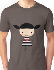 Cute smiling cartoon girl - stick figure Unisex T-Shirt