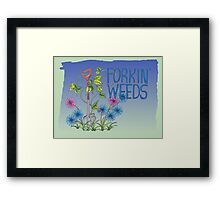 Forkin Weeds on a green to blue background Framed Print
