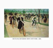 BICYCLING RIVERSIDE DRIVE NEW YORK; Vintage Print Kids Tee