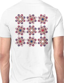 Red, White and Blue Foot Flowers Unisex T-Shirt