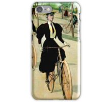 BICYCLING RIVERSIDE DRIVE NEW YORK; Vintage Print iPhone Case/Skin