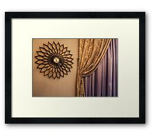 Wall Clock and Curtains in the interior Framed Print