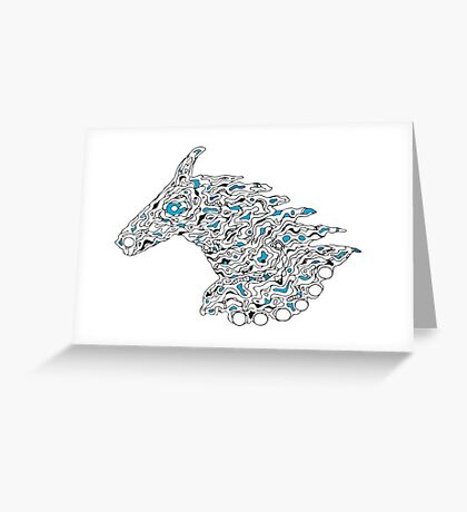 Horsy line in blue Greeting Card