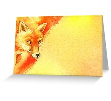 Watercolor autumn forest with red fox. Greeting Card
