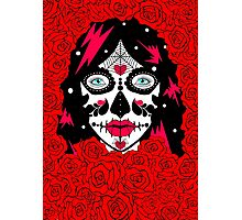 sugar skull red roses lge Photographic Print