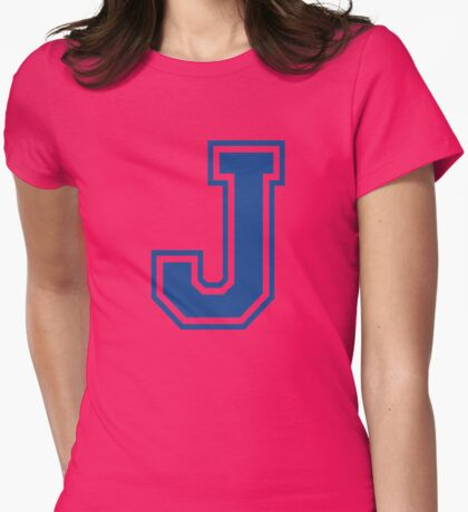 College letter J in blue Womens Fitted T-Shirt