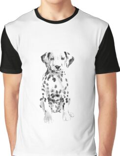 Dalmatian Watercolor Painting Dog White Black Nursery Poster Graphic T-Shirt