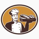 Baker Serving Bread Loaf Woodcut by retrovectors