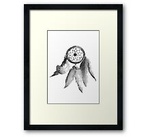 Dream Catcher American Tribal Gray Painting Feathers Illustration Framed Print