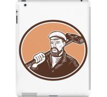 Blacksmith Holding Sledgehammer Woodcut iPad Case/Skin