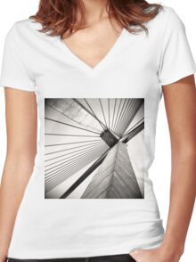 GRAPHIC BRIDGE Women's Fitted V-Neck T-Shirt