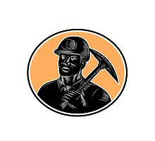 Coal Miner Carry Pick Axe Woodcut  by retrovectors