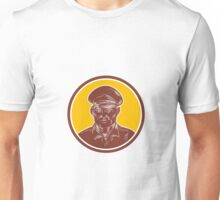 Sea Captain Portrait Woodcut Circle Unisex T-Shirt