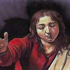 "Pastel study after Caravaggio's ""Supper at Emmaus"" by Pam Humbargar"