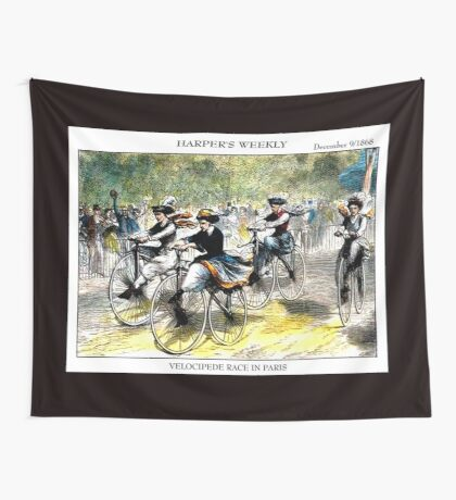 HARPER'S WEEKLY;  Vintage Bicycle Racing Print Wall Tapestry