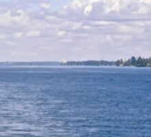 The St. Lawrence River. ON Canada and New York, USA seen from tour boat Sticker