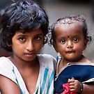 Little Girl With Baby Sister by Leslie  Hagen