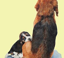 beagle puppy dog and mum by pollywolly