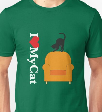 Cat on a yellow armchair Unisex T-Shirt