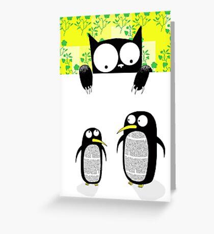 Paper Penguins  Greeting Card