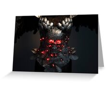 Gladiator, silver armor skull with red eyes and led lights, helmet metal filigree Greeting Card