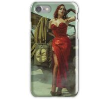 beautiful redhead pin up style wearing uniform wii with vintage aircraft war iPhone Case/Skin