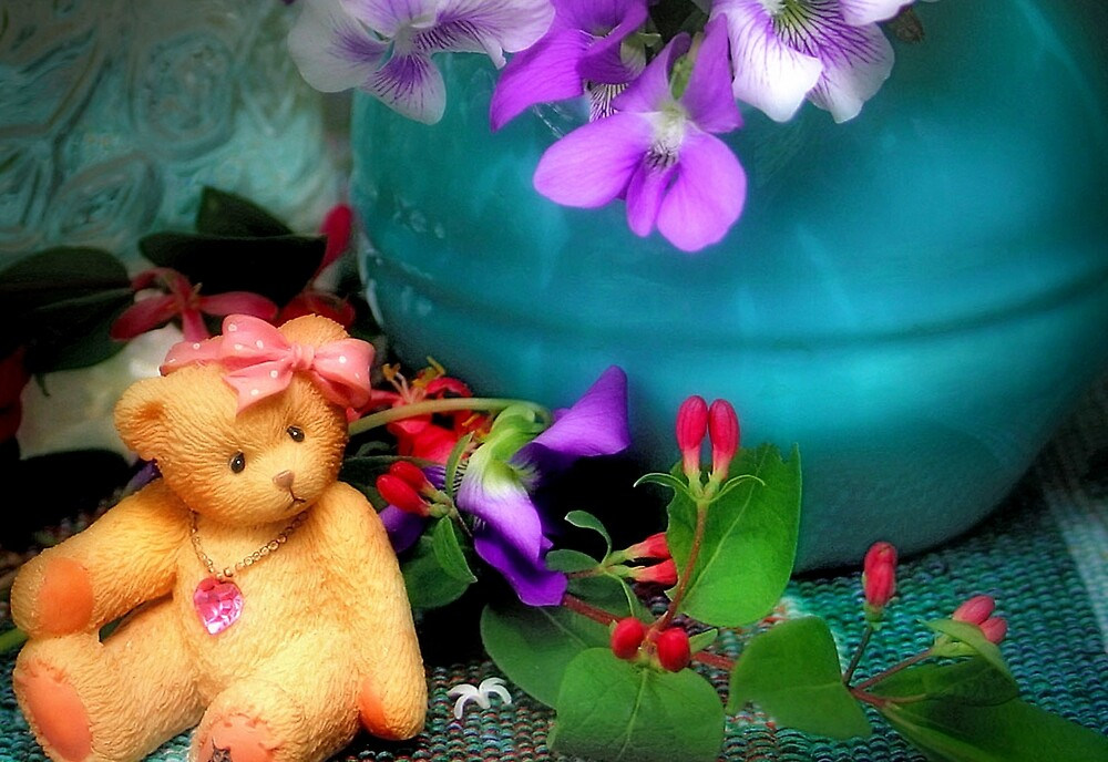 Still Life with Violets and a Bear by Nadya Johnson